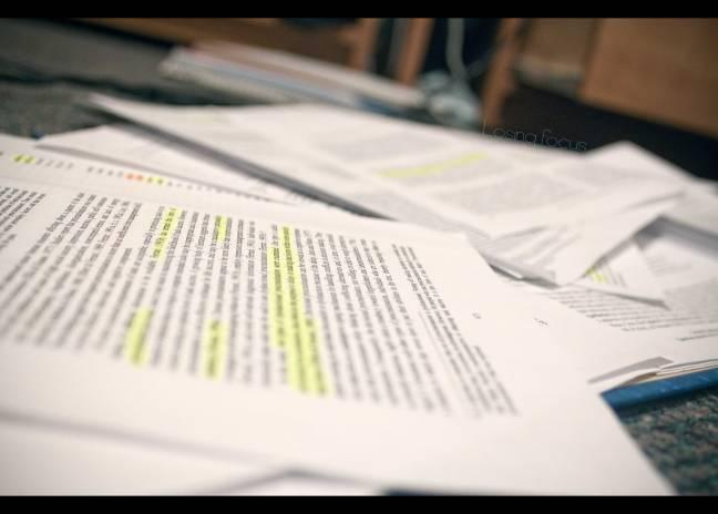 Paper in blurry focus